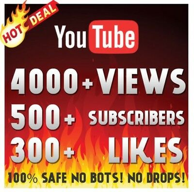 4000+ Youtube-Views 500+Subscribers 500+Likes-Supreme Youtube Pack No Drop Hq