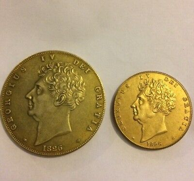 RESTRIKE 1826 George Iv Double £5 Sovereign Gold Plated £2
