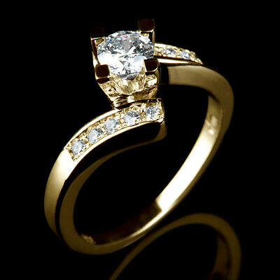 0.9 Ct Authentic Accented Round Diamond 18K Yellow Gold Engagement Bridal Ring