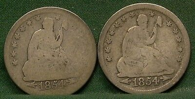 Lot of 2 1854 Seated Liberty Quarters Low Grade