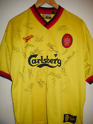 Liverpool signed retro football shirt by 1998 superstar squad with COA - fowler