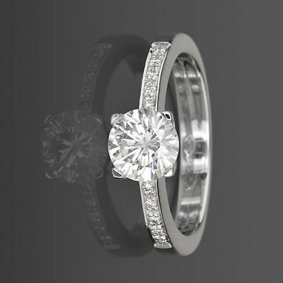 Vs 0.8 Ct Solitaire Round With Accents Diamond 18K White Gold Proposal Ring Nwt