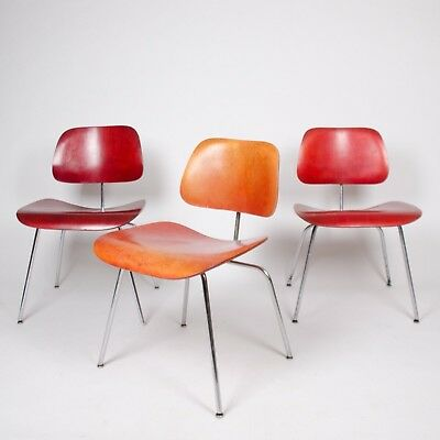 Trio Eames Evans Herman Miller 1940's DCM Dining Chairs Red Aniline Dye 3x