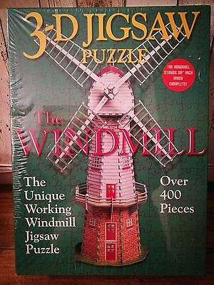 "New 3D Jigsaw Puzzle Fully Working Windmill Over 400 Pieces 30"" Tall"