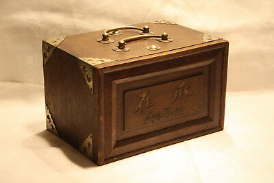 Antique Chinese MAH JONG Set In Wooden Case w/ Silvered Mounts and Handle c1920