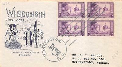 755 3c Imperforate Wisconsin, First Day Cover Cachet [E279463]