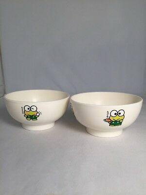 Two Vintage 1991 Sanrio Kero Keroppi Child Rice Snack Bowls Made In Japan