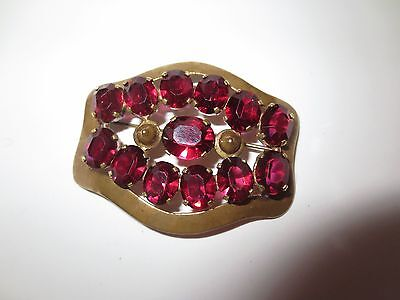 Vintage Glamorous Pink Paste Stones Decorative Brooch Pin Large Sparkly