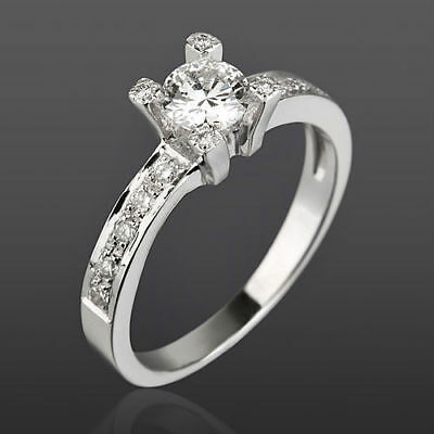 Vs 1 C Certified Solitaire & Accents Diamond 14K White Gold Anniversary Ring Nwt