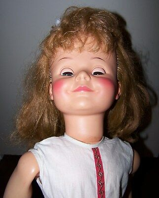 "vintage 30"" Miss Ideal twist waist doll, original dress, lovely hair!"