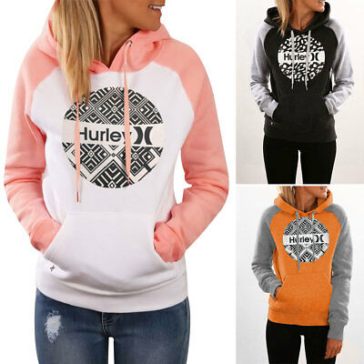 Fashion Hurley Geometric Splicing Hoodie Pocket Sweatshirt Pullover Jumper Coat