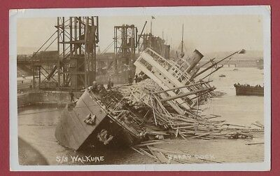 Real Photograph Postcard 1908 - Capsize Of S.s. Walkure - Barry Docks - Disaster