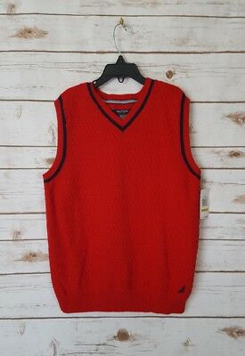Nautica Boy's Red Pullover Sweater Vest Size M (10-12) Regular NWT