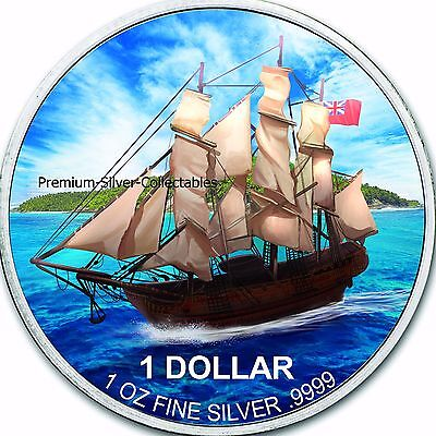 2017 Cook Island Mutiny on the Bounty Ship Silver 1 Ounce Pure Silver .999 !