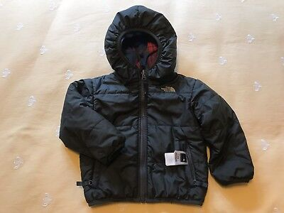 Boys The NORTH FACE Gray Blue Red Plaid Reversible Puffer COAT Jacket Sz 2T EUC