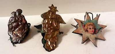 Lot of 3 1800's-early 1900's tin Christmas candle holders NICE!