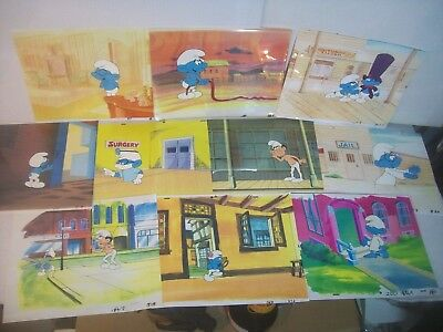 lot#1 'THE SMURFS' 1980s collection of Animation Art Lot of 10 production cels!