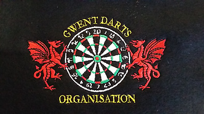 1 Personalised Polo Shirt Embroidered With 2 Dragons & Dart Board with Text