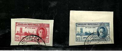 Somaliland  1946 victory fine used set stamps on piece
