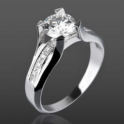 Solitaire Vvs 1.25 Ct Round + Accents Diamond 14K White Gold Betrothal Ring Nib
