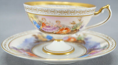 Lefton Hand Colored Royal Vienna / Dresden Style Courting Couple Cup & Saucer