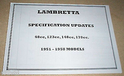 LAMBRETTA SCOOTER SPECIFICATION UPDATES 1951-58 MODELS 48cc, 123cc, 148cc, 170cc