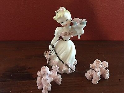 Lefton Porcelain Figurine Girl Walking 2 Pink Poodle Dogs Vintage Spaghetti