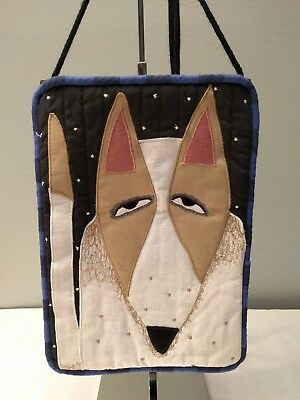 Chris Roberts-Antieau Terrier Dog House Night Sky Quilted Fabric Art Purse Bag