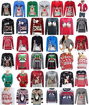 Womens mens Christmas Xmas Unisex Jumper Sweater Knitted Retro Novelty Vintage