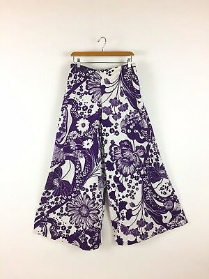 Vintage 1960s Purple Floral Pants Wide Leg Polyester Bell Bottoms Pull On