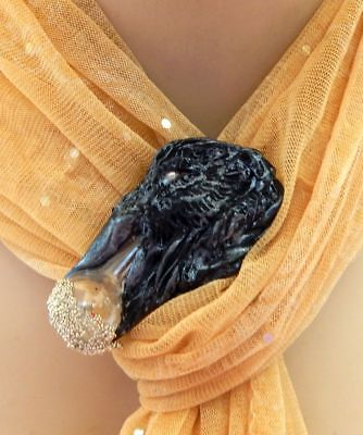 Black Raven Head Vial Brooch or Scarf Pin Jewelry Handmade NEW Polymer Clay