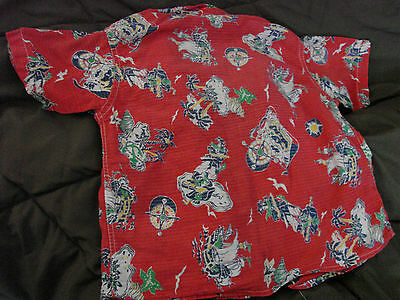 Vintage 50s Childs Boys Cotton Shirt PIRATES Ships FC Red 7 Novelty