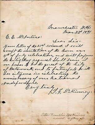 LUTHER FRANKLIN MCKINNEY Autograph Letter Signed - 1891