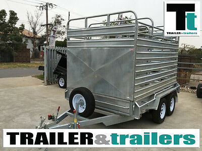 10x6 Heavy duty  Tandem Galvanised Stock Crate Trailer Cattle Trailers