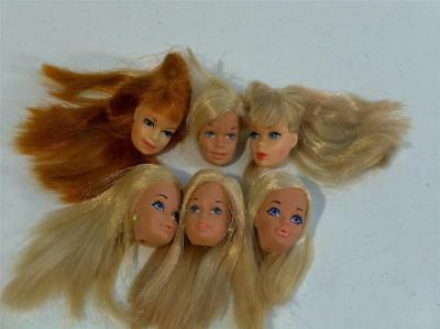Vintage Mattel Barbie Lot of 6 Barbie type Doll Heads