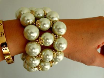Heavy Vtg Jb Couture Xl Wide Gumball Glass Pearl Mogul Jewel Pave Cuff Bracelet