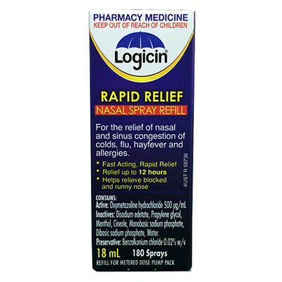 * Logicin Rapid Relief Nasal Spray Refill 18Ml Allergy Cold & Flu Nose Relief