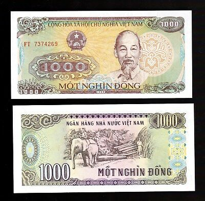 Money World, Vietnam In Asia,1 Pce Of 1000 Dong 1988 P-106,  Unc From Bundle