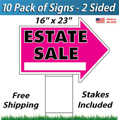 """18/"""" x 24/"""" Full Color Real Estate Signs 2 Sided Corrugated Plastic 10x 10pack"""