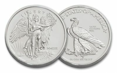 2017 Saint Gaudens Winged Liberty 1 oz .999 Silver BU Satin Round UHR USA Coin