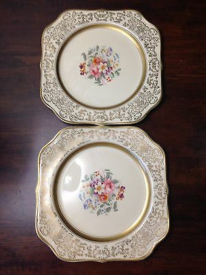 Johnson Bros Victorian 7.5'' Square Plates Gold Border Center Flowers Set of 2