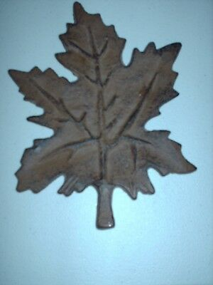 "Cast Iron FOOTED BROWN Leaf Shaped TRIVET - 8"" X 6"""
