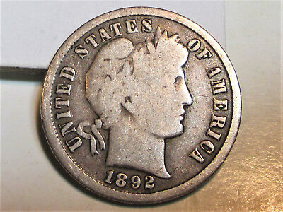 """1892-S BARBER DIME 10c **VG** US COIN """"RARE""""."""