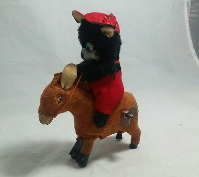 vintage Antique wind up bear With Fur riding a donkey Working Tin Toy