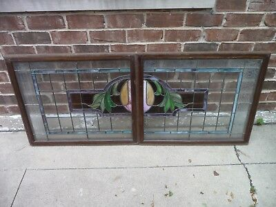 Leaded Stained Glass Window set Beautiful Design 28 * 23.5 Each Vintage Frosted