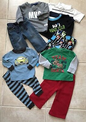 Lot of Boys Clothes size 12 18 months Fall Winter Cute Outfits Pajamas