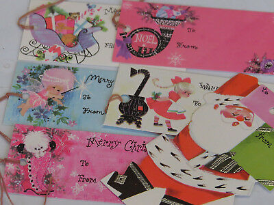 Vintage Christmas Gift Tag Collection Lot Glitter Pink White Black ~Cottage Chic