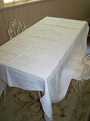 Vintage French Chic~ SWISS LINEN Cotton Tablecloth ~ ANTIQUE