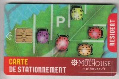 Piaf Parking Carte / Card .. 15€ Mulhouse 68 Resident Coccinelle Chip/puce
