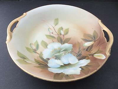 NIPPON Bowl,  Very Nice Shallow Bowl, Floral ,Green M in wreath  Mark,1911